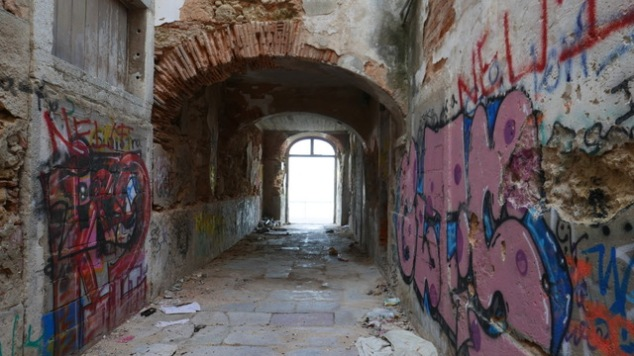 Ruins with grafiti